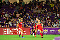 Orlando, FL - Saturday August 11, 2018:  Portland Thorns celebrate a goal, Orlando Pride vs Portland Timbers at Orlando City Stadium.