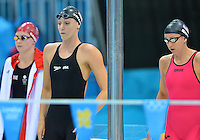 August 04, 2012..Dana Vollmer and Rebecca Soni prepare to compete in Women's 4x100m Medley Relay at the Aquatics Center on day eight of 2012 Olympic Games in London, United Kingdom.