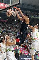 Slovenia's Miha Zupan (l) and Jure Balazic (r) and USA's Anthony Davis during 2014 FIBA Basketball World Cup Quarter-Finals match.September 9,2014.(ALTERPHOTOS/Acero)