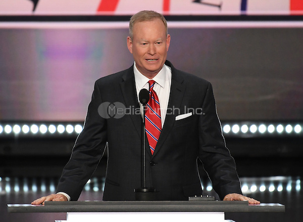Mayor Mick Cornett (Republican of Oklahoma City, Oklahoma), President of the US Conference of Mayors, makes remarks at the 2016 Republican National Convention held at the Quicken Loans Arena in Cleveland, Ohio on Monday, July 18, 2016.<br /> Credit: Ron Sachs / CNP/MediaPunch<br /> (RESTRICTION: NO New York or New Jersey Newspapers or newspapers within a 75 mile radius of New York City)