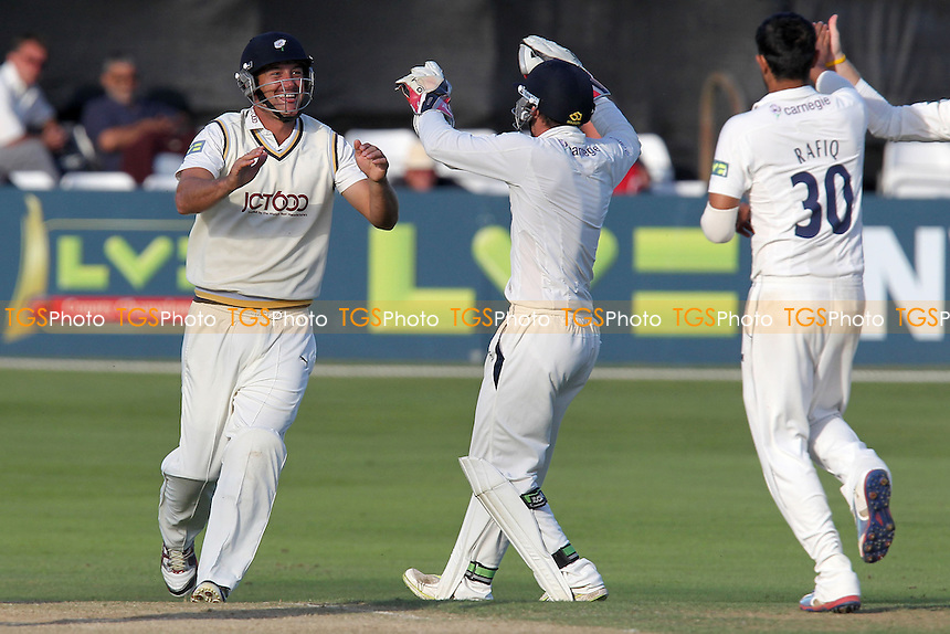 Phil Jaques of Yorkshire (L) celebrates his catch to dismiss Jaik Mickleburgh - Essex CCC vs Yorkshire CCC - LV County Championship Division Two Cricket at the Ford County Ground, Chelmsford, Essex - 13/09/12 - MANDATORY CREDIT: Gavin Ellis/TGSPHOTO - Self billing applies where appropriate - 0845 094 6026 - contact@tgsphoto.co.uk - NO UNPAID USE.