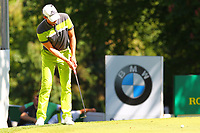 Alexander Bjork putts on the 16th green during the BMW PGA Golf Championship at Wentworth Golf Course, Wentworth Drive, Virginia Water, England on 26 May 2017. Photo by Steve McCarthy/PRiME Media Images.