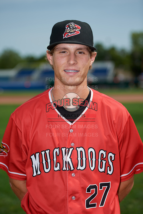 Batavia Muckdogs Davis Bradshaw (27) poses for a photo before a game against the Auburn Doubledays on September 2, 2018 at Dwyer Stadium in Batavia, New York.  Batavia defeated Auburn 5-4.  (Mike Janes/Four Seam Images)