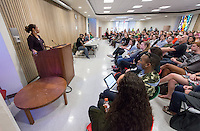 Professor Regina Freer talks at a campus-wide teach-in on the Ferguson case and American society's response to the death of Michael Brown. The talk featured a panel which included politics professor Regina Freer, assistant professor of English James Ford, assistant professor of politics Thalia Gonzalez, Peter Dreier, E.P. Clapp Distinguished Professor of Politics and special guest Patrisse Cullors of Dignity & Power Now and Black Lives Matter. Ella Turenne, assistant dean for community engagement,  moderated. Lower Herrick, Friday, Dec. 5, 2014. (Photo by Marc Campos, Occidental College Photographer)