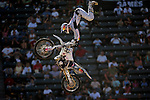 Travis Pastrana competes in the Moto X Freestyle elimination round during X-Games 12 in Los Angeles, California on August 5, 2006.