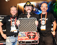 LAS VEGAS, NV - January 8: Ulf Sanders, Lemmy Kilmister, and Nick Lasson unveil Motorheadphones at the Consumer Electronics Show on January 8, 2013 in Las Vegas, Nevada. © Kabik/ Starlitepics / Mediapunch Inc /NortePhoto©