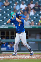 Mac James (28) of the Durham Bulls at bat against the Charlotte Knights at BB&T BallPark on July 31, 2019 in Charlotte, North Carolina. The Knights defeated the Bulls 9-6. (Brian Westerholt/Four Seam Images)