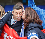 Rangers manager Pedro Caixinha gets a kiss fron Rangers fan Louby Smith