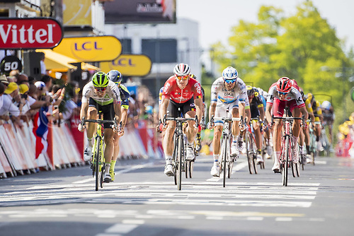 15th July 2918, Arras, France; Tour de France cycling tour, stage 9 Arras to Roubaix; Edvald Boasson Hagen of Team Dimension Data and Alexander Kristoff of UAE Team Emirates cross the finish line during stage nine