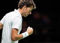 Februari 11, 2015, Netherlands, Rotterdam, Ahoy, ABN AMRO World Tennis Tournament, Robin Haase (NED) - Andreas Seppi (UKR)<br /> Photo: Tennisimages/Henk Koster