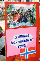 Norwegian language school poster. Svenskarnas Dag Swedish Heritage Day Minnehaha Park Minneapolis Minnesota USA
