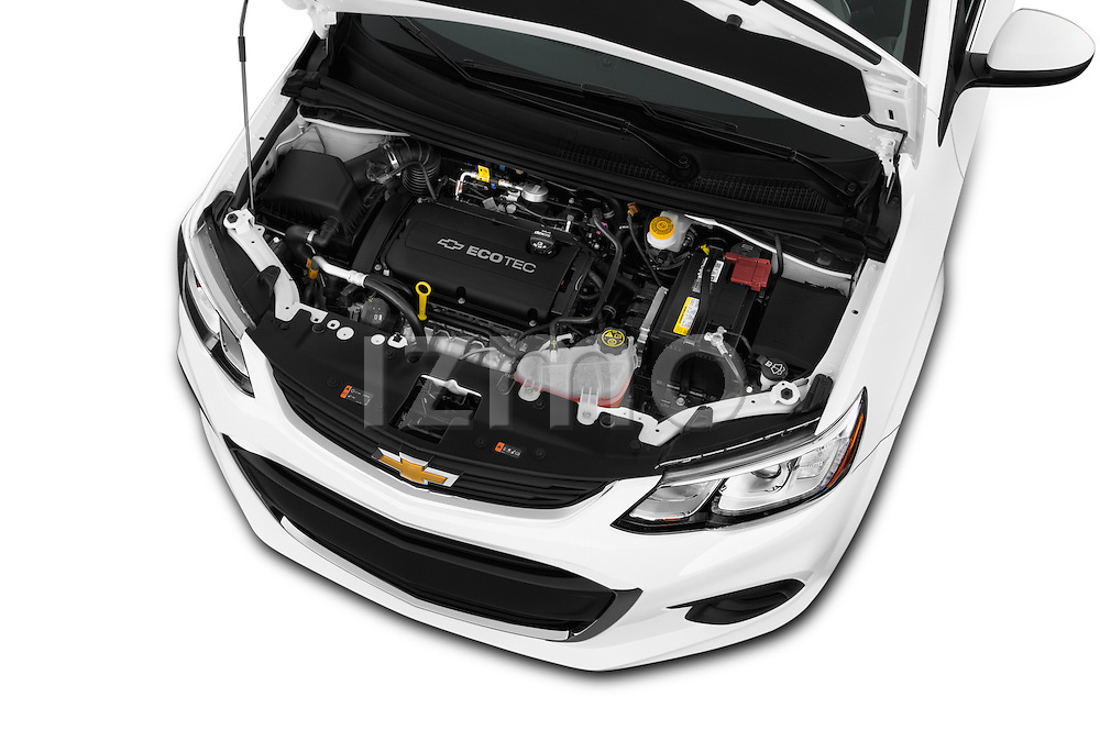 Car Stock 2017 Chevrolet Sonic LT 4 Door Sedan Engine  high angle detail view