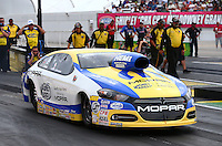 Aug 30, 2014; Clermont, IN, USA; NHRA pro stock driver Allen Johnson during qualifying for the US Nationals at Lucas Oil Raceway. Mandatory Credit: Mark J. Rebilas-USA TODAY Sports