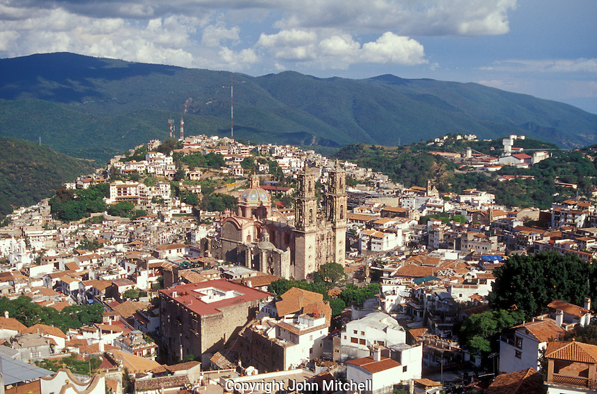 Aerial view of the Santa Prisca Church and the Spanish colonial town of Taxco, Guerrero, Mexico