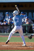 Logan Warmoth (7) of the North Carolina Tar Heels at bat against the Kentucky Wildcats at Boshmer Stadium on February 17, 2017 in Chapel Hill, North Carolina.  The Tar Heels defeated the Wildcats 3-1.  (Brian Westerholt/Four Seam Images)