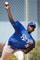 Carlos Fortuna #31 of the Burlington Royals throws a bullpen session at Howard Johnson Stadium June 27, 2009 in Johnson City, Tennessee. (Photo by Brian Westerholt / Four Seam Images)