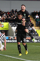 Anthony Watt congratulated by Gary Hooper after his goal in the St Mirren v Celtic Clydesdale Bank Scottish Premier League match played at St Mirren Park, Paisley on 20.10.12.
