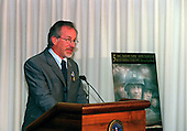"Steven Spielberg makes his remarks after receiving the Department of Defense Medal for Distinguished Public Service from United States Secretary of Defense William S. Cohen in the Pentagon in Washington, D.C. on August 11, 1999.  Cohen presented Spielberg the award in recognition of the impact his movie ""Saving Private Ryan"" has had on the American people.   According to the citation accompanying the medal, ""... Mr. Spielberg helped to reconnect the American public with its military men and women, while rekindling a deep sense of gratitude for the daily sacrifices they make on the front lines of our Nation's defense.""                                                               Mandatory Credit: Helene Stikkel / DoD via CNP"