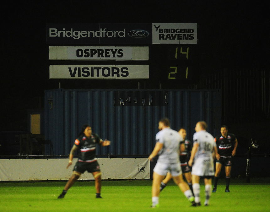 The scoreboard reflects the full time score<br /> <br /> Photographer Kevin Barnes/CameraSport<br /> <br /> Rugby Union Friendly - Ospreys v Leicester Tigers - Friday 11th August 2017 - Brewery Field - Bridgend<br /> <br /> World Copyright &copy; 2017 CameraSport. All rights reserved. 43 Linden Ave. Countesthorpe. Leicester. England. LE8 5PG - Tel: +44 (0) 116 277 4147 - admin@camerasport.com - www.camerasport.com