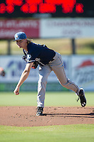 Asheville Tourists starting pitcher Sam Howard (32) follows through on his delivery against the Kannapolis Intimidators at Intimidators Stadium on June 28, 2015 in Kannapolis, North Carolina.  The Tourists defeated the Intimidators 6-4.  (Brian Westerholt/Four Seam Images)