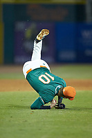 Greensboro Grasshoppers third baseman Micah Brown (10) takes a tumble as he fields a bunt during the game against the Augusta GreenJackets at First National Bank Field on April 10, 2018 in Greensboro, North Carolina.  The GreenJackets defeated the Grasshoppers 5-0.  (Brian Westerholt/Four Seam Images)