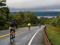 Bear Mountain, Hudson HIghlands, New York - 10:04 am - Cyclists pedaled nearly 50 miles on a ride from Bear Mountain to Manhattan, along the Hudson River, in a ride to commerate the 400th anniversary of Henry Hudson discovery of what has become New York City. Descenidng Route 9w near Bear Mountain