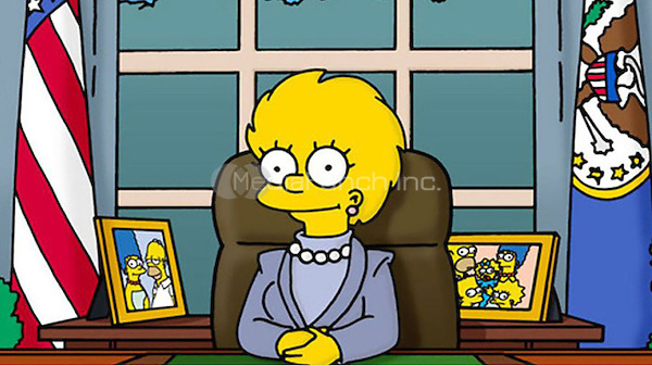 A grown up Lisa Simpson elected to the Oval Office after President Trump has tanked the economy.<br /> 'Bart to the Future' episode of 'The Simpsons' in 2000<br /> *Screenshot - Editorial Use Only*<br /> CAP/PLF<br /> Supplied by Capital Pictures /MediaPunch ***NORTH AND SOUTH AMERICAS ONLY*** ***EDITORIAL USE ONLY***