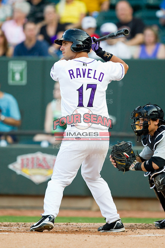 Rangel Ravelo (17) of the Winston-Salem Dash at bat against the Carolina Mudcats at BB&T Ballpark on July 25, 2013 in Winston-Salem, North Carolina.  The Mudcats defeated the Dash 5-4.  (Brian Westerholt/Four Seam Images)