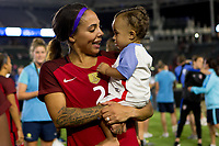 Carson, CA - Thursday August 03, 2017: Sydney Leroux and son during a 2017 Tournament of Nations match between the women's national teams of the United States (USA) and Japan (JAP) at StubHub Center.