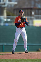 Illinois Fighting Illini starting pitcher Cole Kirschsieper (27) comes to a set position during the game against the West Virginia Mountaineers at TicketReturn.com Field at Pelicans Ballpark on February 23, 2020 in Myrtle Beach, South Carolina. The Fighting Illini defeated the Mountaineers 2-1.  (Brian Westerholt/Four Seam Images)