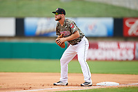 Arkansas Travelers first baseman Kyle Waldrop (10) during a game against the Frisco RoughRiders on May 28, 2017 at Dickey-Stephens Park in Little Rock, Arkansas.  Arkansas defeated Frisco 17-3.  (Mike Janes/Four Seam Images)