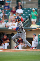 Lehigh Valley IronPigs right fielder Ryan Goins (2) follows through on a swing during a game against the Rochester Red Wings on September 1, 2018 at Frontier Field in Rochester, New York.  Lehigh Valley defeated Rochester 2-1.  (Mike Janes/Four Seam Images)