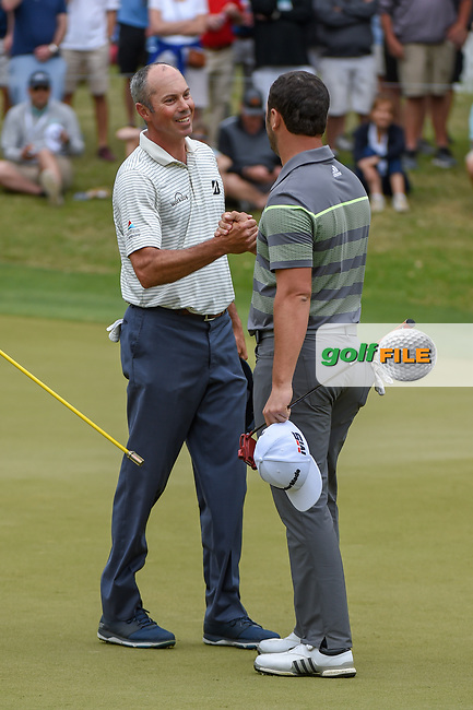 Matt Kuchar (USA) shakes hands with Jon Rahm (ESP) after winning their match on 18 during day 3 of the WGC Dell Match Play, at the Austin Country Club, Austin, Texas, USA. 3/29/2019.<br /> Picture: Golffile | Ken Murray<br /> <br /> <br /> All photo usage must carry mandatory copyright credit (© Golffile | Ken Murray)