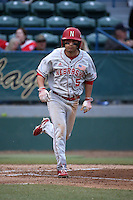 Steven Reveles (5) of the Nebraska Cornhuskers bats against the Long Beach State Dirtbags in the second game of a doubleheader at Blair Field on March 5, 2016 in Long Beach, California. Long Beach State defeated Nebraska, 3-1. (Larry Goren/Four Seam Images)