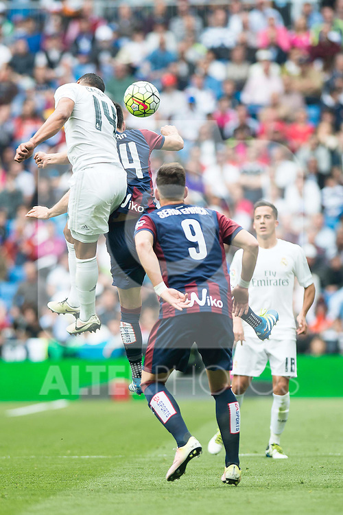 Real Madrid's Carlos Henrique Casemiro and Sociedad Deportiva Eibar's Dani Garcia and Sergi Enrich during La Liga match. April 09, 2016. (ALTERPHOTOS/Borja B.Hojas)