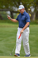Ernie Els (RSA) after sinking his putt on 1 during day 2 of the Valero Texas Open, at the TPC San Antonio Oaks Course, San Antonio, Texas, USA. 4/5/2019.<br /> Picture: Golffile | Ken Murray<br /> <br /> <br /> All photo usage must carry mandatory copyright credit (&copy; Golffile | Ken Murray)