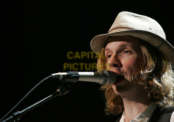 BECK.The Coors Ampitheatre in Chula Vista, California, USA. September 27th, 2006 .Ref: DVS.headshot portrait stage concert live gig performance music  beige hat singing.www.capitalpictures.com.sales@capitalpictures.com.©Debbie VanStory/Capital Pictures