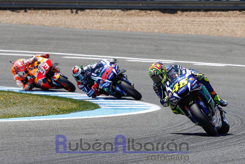 Valentino Rossi, Jorge Lorenzo and Mark Marquez  in MotoGP race in Motorcycle Championship GP, in Jerez, Spain. April 24, 2016