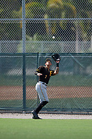Pittsburgh Pirates right fielder Bligh Madris (7) settles under a fly ball during a Florida Instructional League game against the Detroit Tigers on October 2, 2018 at the Pirate City in Bradenton, Florida.  (Mike Janes/Four Seam Images)