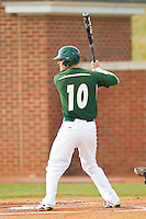 Justin Seager (10) of the Charlotte 49ers at bat against the High Point Panthers at Willard Stadium on February 20, 2013 in High Point, North Carolina.  The 49ers defeated the Panthers 12-3.  (Brian Westerholt/Four Seam Images)