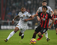 Wolverhampton Wanderers' Ivan Cavaleiro (left) is tackled by  Bournemouth's Nathan Ake (right) <br /> <br /> Photographer David Horton/CameraSport<br /> <br /> The Premier League - Bournemouth v Wolverhampton Wanderers - Saturday 23 February 2019 - Vitality Stadium - Bournemouth<br /> <br /> World Copyright © 2019 CameraSport. All rights reserved. 43 Linden Ave. Countesthorpe. Leicester. England. LE8 5PG - Tel: +44 (0) 116 277 4147 - admin@camerasport.com - www.camerasport.com