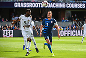 February 2nd 2019, San Jose, California, USA; Costa Rica defender Keysher Fuller (4) heads the ball away from USA defender Aaron Long (3) during the international friendly match between USA and Costa Rica at Avaya Stadium on February 2, 2019 in San Jose CA.