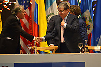 MEDELLÍN - COLOMBIA ,28-06-2019:Luis Almagro Secretario General de La Asamblea General de La Organización de Estados Americanos (OEA) con Carlos Holmes Trujillo canciller de Colombia/ Luis Almagro and Carlos Holmes Trujillo during the 49th General Assembly of the Organization of American States (OEA). Photo: VizzorImage / León Monsalve / Contribuidor.