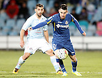 Getafe's Moi Gomez (r) and Celta de Vigo's Jonny Castro during La Liga match. February 27,2016. (ALTERPHOTOS/Acero)