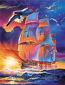 Interlitho, Jason, LANDSCAPES, paintings, sailing ship, eagle(KL3859,#L#)