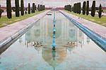 India, Agra, reflection of Taj Mahal,