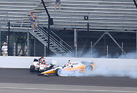 May 28, 2017; Indianapolis, IN, USA; IndyCar Series driver James Davison (18) and Oriol Servia (16) crash during the 101st Running of the Indianapolis 500 at Indianapolis Motor Speedway. Mandatory Credit: Mark J. Rebilas-USA TODAY Sports