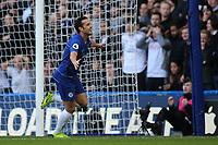 Pedro celebrates scoring Chelsea's opening goal during Chelsea vs Fulham, Premier League Football at Stamford Bridge on 2nd December 2018