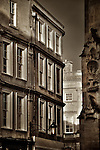 Street view in Bath Somerset England with evening sunlight