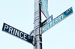 Street signs for Prince Street and Mulberry Street in Little Italy, Manhattan, New York City.
